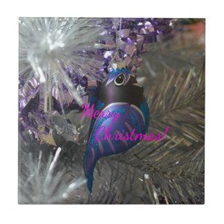Merry Christmas Stunning Blue Bird Decoration Tile