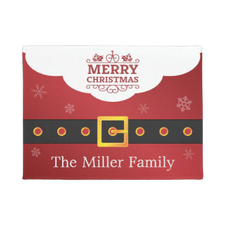 Merry Christmas Stylish Santa Suit Belt Welcome Doormat