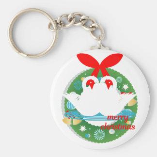 merry christmas swans keychain