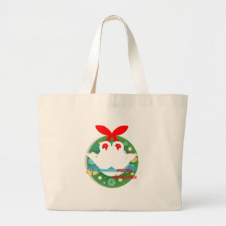 merry christmas swans large tote bag