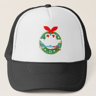 merry christmas swans trucker hat