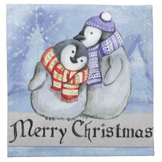 Merry Christmas Sweet Little Winter Penguins Napkin
