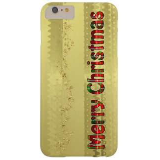 Merry Christmas Tartan Typography - Faux Gold Foil Barely There iPhone 6 Plus Case