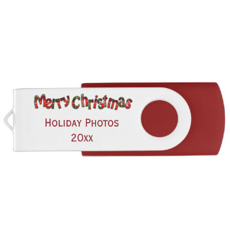 """Merry Christmas"" Tartan Typography - Personalize Swivel USB 2.0 Flash Drive"