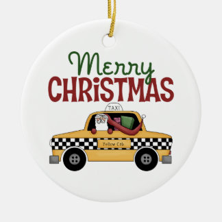 Merry Christmas Taxi Christmas Ornament