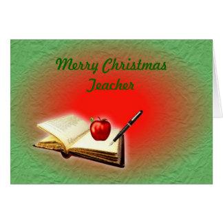 Merry Christmas Teacher Christmas book & apple Greeting Card