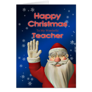 Merry Christmas teacher, Santa waving Greeting Cards