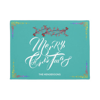 Merry Christmas Teal - Doormat