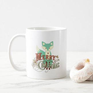 Merry Christmas Teal Green Fox Coffee Coffee Mug