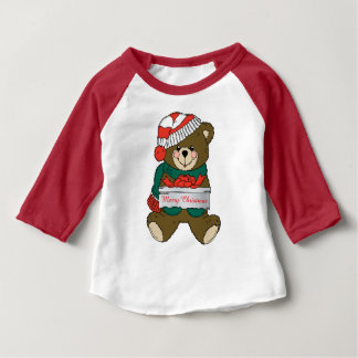 Merry Christmas Teddy Bear with Present Baby T-Shirt