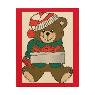 """""""MERRY CHRISTMAS"""" TEDDY BEAR WOOD CANVASES"""