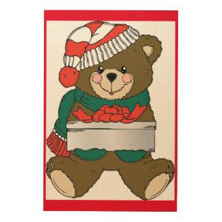 """MERRY CHRISTMAS"" TEDDY BEAR WOOD PRINTS"
