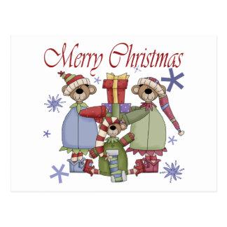 Merry Christmas Teddy Bears Postcard