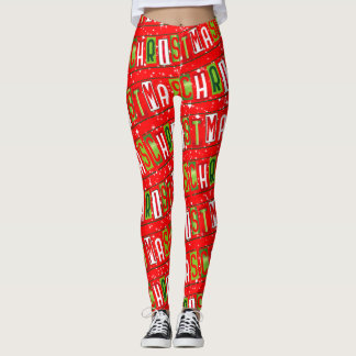 Merry Christmas Text Starry Red Green White Leggings