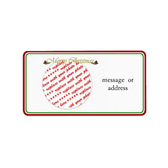 Merry Christmas Text with Pine cones Label