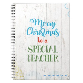 Merry Christmas to a Special Teacher Notebooks