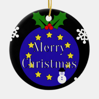 """Merry Christmas..To EU!"" Brexit iDble-sided Ceramic Ornament"