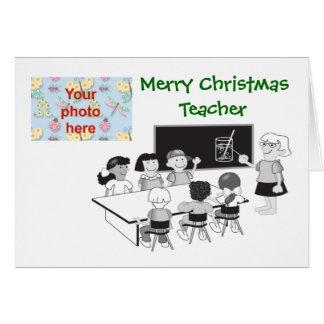 Merry Christmas to teacher school add photo Greeting Card