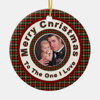 Merry Christmas to the One I Love Custom Photo Ceramic Ornament