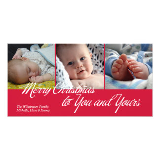 Merry Christmas to you and yours green 3 photos Photo Greeting Card