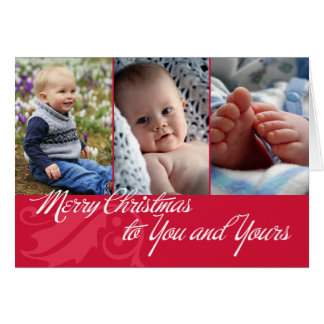 Merry Christmas to you and yours red 3 photos Greeting Card