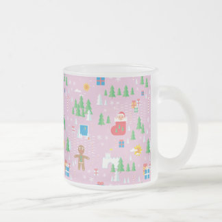 Merry Christmas transparent mug. Frosted Glass Coffee Mug