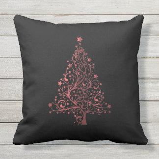 Merry Christmas Tree Black Metallic Red Look Throw Pillow