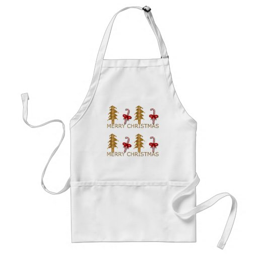 Merry Christmas Tree Candy red gold Apron