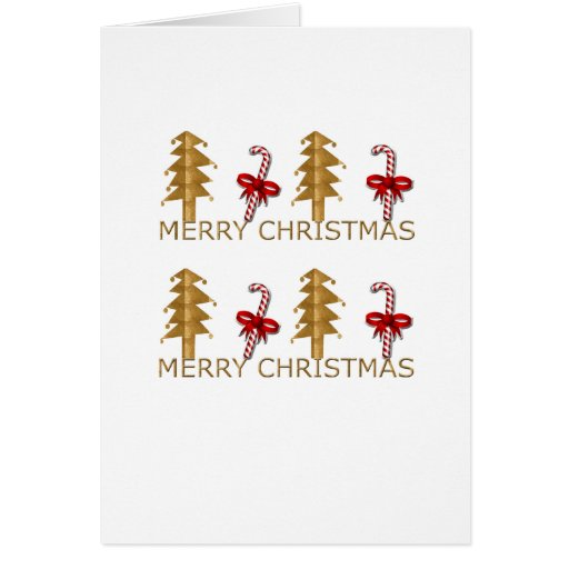 Merry Christmas Tree Candy red gold Greeting Card