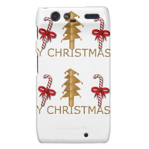 Merry Christmas Tree Candy red gold Motorola Droid RAZR Covers