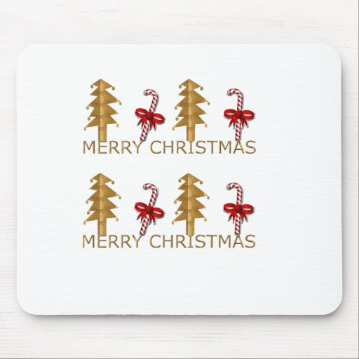 Merry Christmas Tree Candy red gold Mousepad