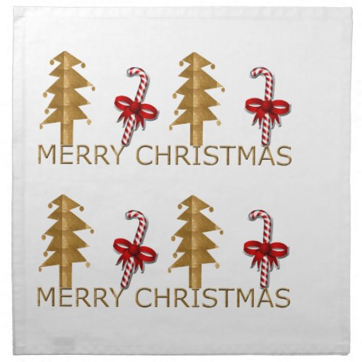 Merry Christmas Tree Candy red gold Cloth Napkin