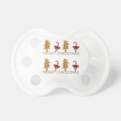 Merry Christmas Tree Candy red gold Pacifier