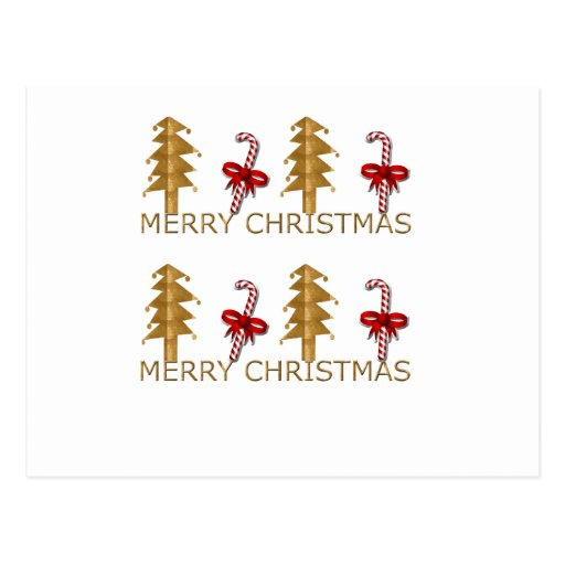 Merry Christmas Tree Candy red gold Postcard