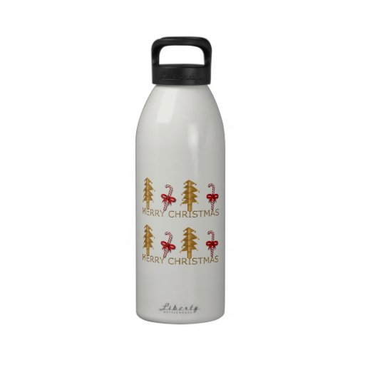 Merry Christmas Tree Candy red gold Water Bottle
