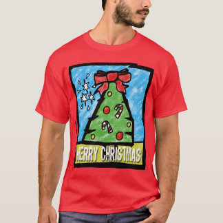 Merry Christmas Tree Cartoon Style T-Shirt