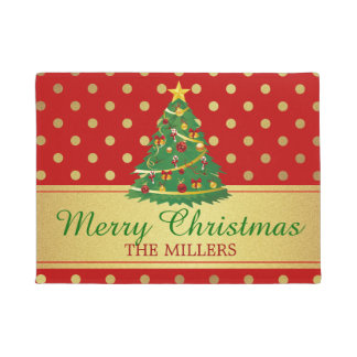 Merry Christmas Tree Classic Red Gold Polka Dots Doormat
