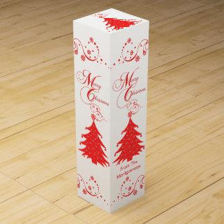 Merry Christmas Tree Custom Name Wine Box