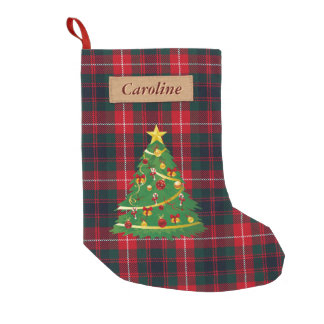 Merry Christmas Tree Fabric Scottish Plaid Tartan Small Christmas Stocking