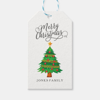 Merry Christmas Tree Family Name 2017 Gift Tags