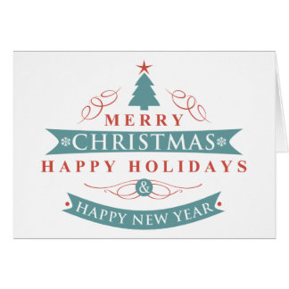 Merry Christmas Tree Folded Holiday Card