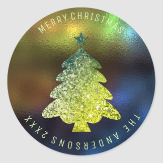 Merry Christmas Tree Glass Blue Navy Gold Green Classic Round Sticker