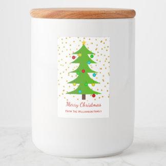 Merry Christmas Tree Gold Faux Glitter Custom  Jar Food Label