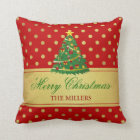Merry Christmas Tree - Gold Glitter Polka Dots Throw Pillow