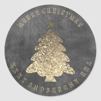 Merry Christmas Tree Gray Black Gold Linen Grungy Classic Round Sticker