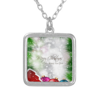 Merry Christmas Tree Greating Card Silver Plated Necklace