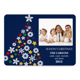 "Merry Christmas Tree Holiday Photocard (Blue) 5"" X 7"" Invitation Card"