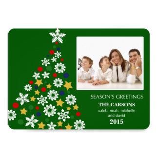 "Merry Christmas Tree Holiday Photocard (Green) 5"" X 7"" Invitation Card"