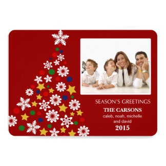 "Merry Christmas Tree Holiday Photocard (Red) 5"" X 7"" Invitation Card"