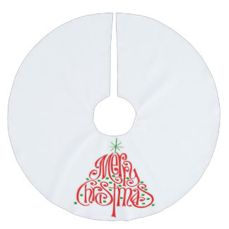 Merry Christmas Tree Holiday Skirt Brushed Polyester Tree Skirt